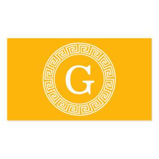 Goldenrod Wht Greek Key Rnd Frame Initial Monogram Pack Of Standard Business Cards