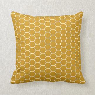 Goldenrod Yellow Geometric Honeycomb Hexagon Patte Cushion
