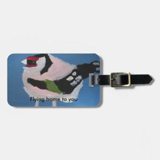 Goldfinch abstract painted cute bird luggage tag
