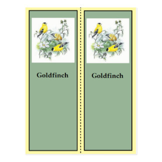 Goldfinch Birding Bookmarks Postcard