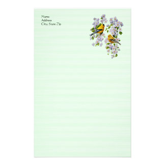 Goldfinch Birds & Apple Blossoms Green Stationery