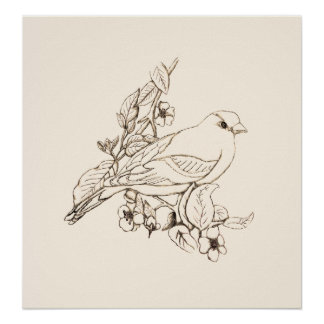 Goldfinch Black Line Drawing, Color It Poster