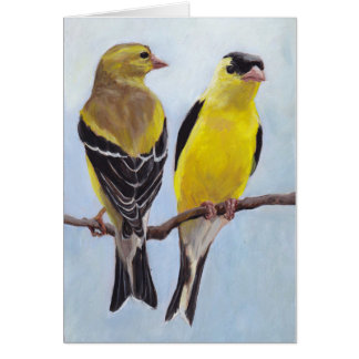 Goldfinch Couple Bird Art Note Card
