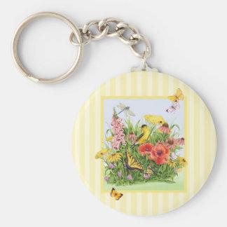 Goldfinch Garden Basic Round Button Key Ring