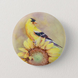 GOLDFINCH & SUNFLOWER by SHARON SHARPE 6 Cm Round Badge