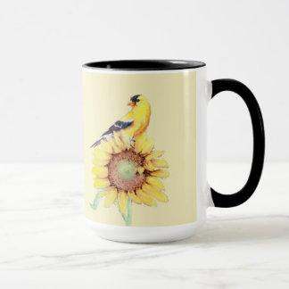 GOLDFINCH & SUNFLOWER by SHARON SHARPE Mug