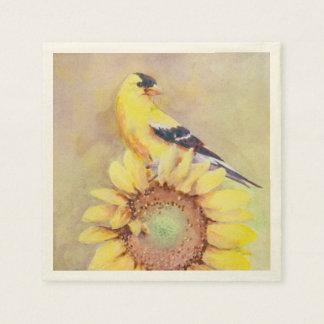 GOLDFINCH & SUNFLOWER by SHARON SHARPE Paper Napkin