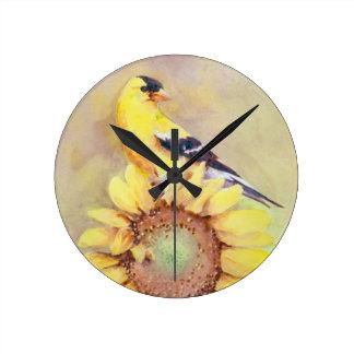 GOLDFINCH & SUNFLOWER by SHARON SHARPE Round Clock
