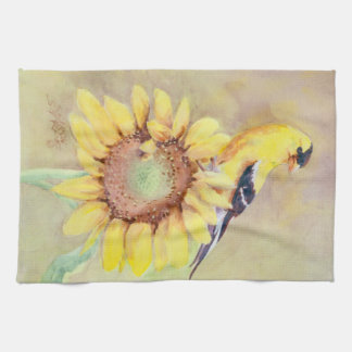 GOLDFINCH & SUNFLOWER by SHARON SHARPE Tea Towel