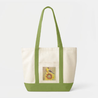 GOLDFINCH & SUNFLOWER by SHARON SHARPE Tote Bag