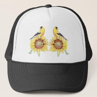 GOLDFINCH & SUNFLOWER By SHARON SHARPE Trucker Hat