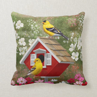 Goldfinches and Cute Cottage Birdhouse Cushion