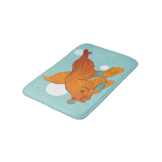 Goldfish and Bubbles Graphic Bath Mat