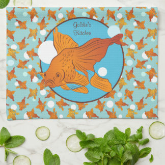 Goldfish and Bubbles Graphic Pattern Personalized Tea Towel