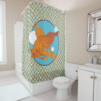 Goldfish and Bubbles Graphic Pattern Shower Curtain