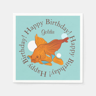 Goldfish and Bubbles Graphic Personalized Birthday Paper Napkin