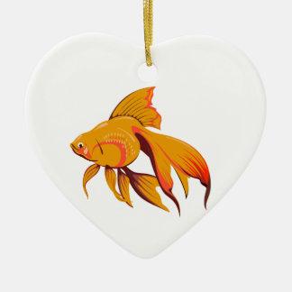 Goldfish Ceramic Heart Decoration