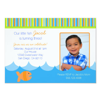 "Goldfish Gold Fish Birthday Party Invitation 5"" X 7"" Invitation Card"