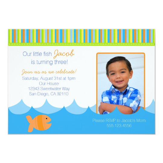 Goldfish Gold Fish Birthday Party Invitation