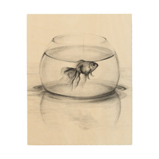Goldfish in a bowl pencil art Wood canvas