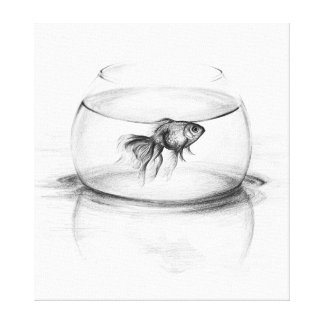 Goldfish in a bowl pencil art Wrapped canvas Stretched Canvas Print