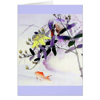 Goldfish Kingfisher Japanese print Card