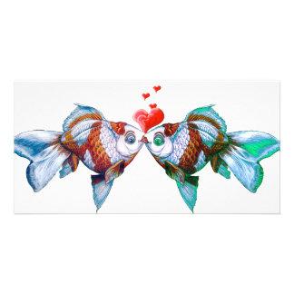 Goldfish Kiss Custom Photo Card