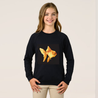 Goldfish low polygon isolated on black sweatshirt