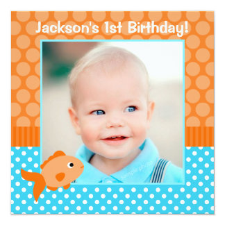 Goldfish Polka Dot 1st Birthday Photo 13 Cm X 13 Cm Square Invitation Card