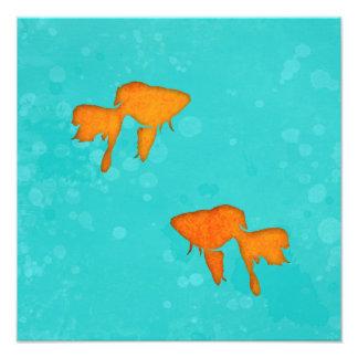 Goldfish silhouettes turquoise water Photo print