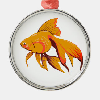 Goldfish Silver-Colored Round Decoration