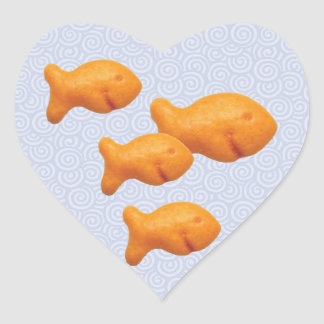 Goldfish Swirls Heart Sticker