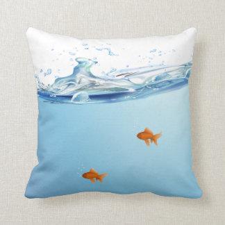 Goldfish under water aquarium cushion
