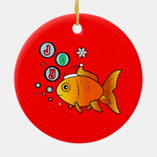 Goldfish with Santa Hat and Bubbles of Joy Ceramic Ornament