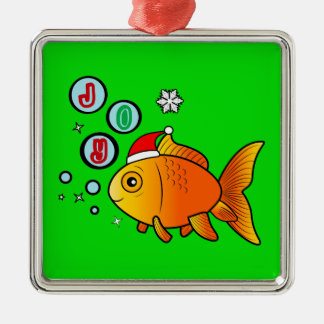 Goldfish with Santa Hat and Bubbles of Joy Metal Ornament