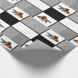 Goldfish with Solids and Patterns in Black Wrapping Paper