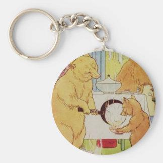 Goldilocks and Three Bears Vintage Historical art Keychain