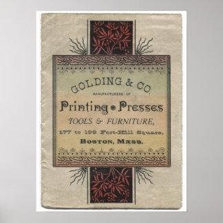 Golding letterpress printing press advertisement poster