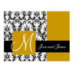 GoldSave the Date Damask Wedding Announcement Postcard
