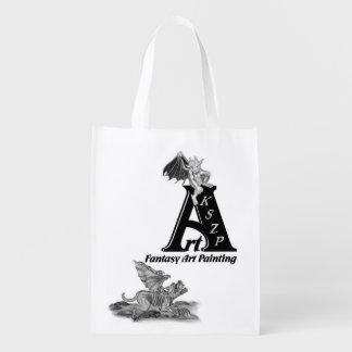Golem Gargoyle and ArtKSZP Logo Reusable Grocery Bag