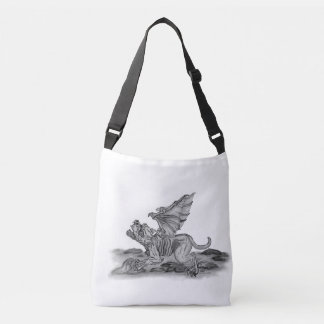 Golem Gargoyle , Black and White design Crossbody Bag