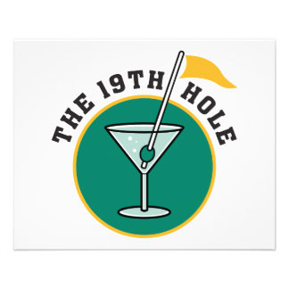 golf 19th hole drink time humor 11.5 cm x 14 cm flyer