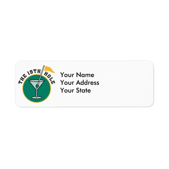 golf 19th hole drink time humour return address label