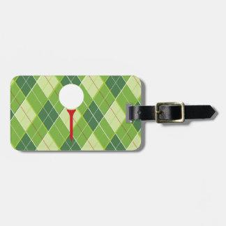 Golf Argyle pattern tee & golf ball luggage tag