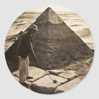 Golf at the Pyramid Sepia Toned Round Sticker