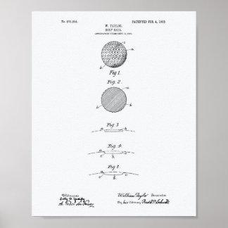 Golf Ball 1908 Patent Art - White Paper Poster