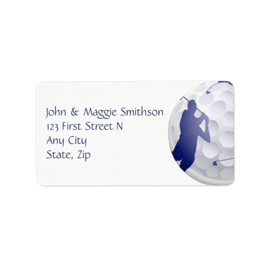 Golf Ball and Club Art Custom Address Address Label