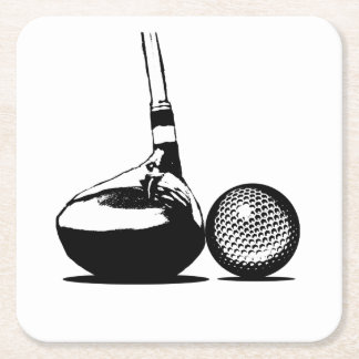 Golf Ball and Club Square Paper Coaster