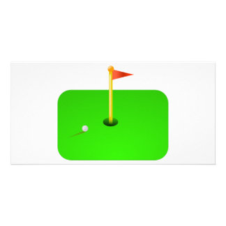 Golf Ball and Golf Flag Photo Greeting Card
