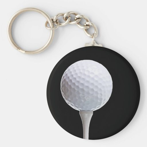 Golf Ball and Tee on Black- Customized Keychains